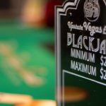 Blackjack table sign closeup