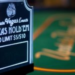 Texas holdem table sign closeup
